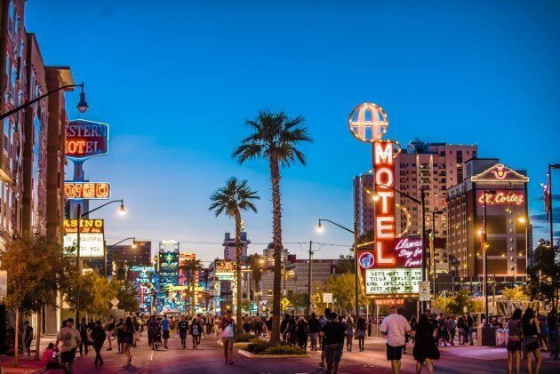 The thriving downtown Vegas, as part of Life Is