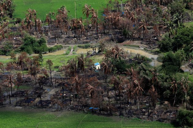 The villages were allegedly torch by the Myanmar