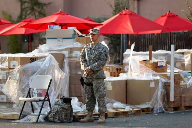 The National Guard are helping at evacuation
