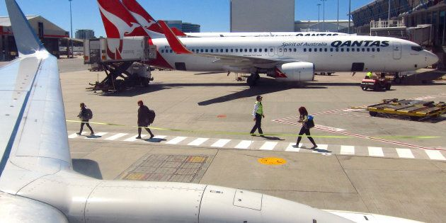 A Qantas plane collided with a truck at Sydney airport.