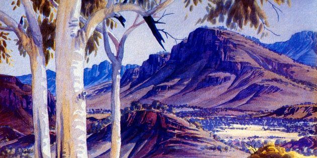 Albert Namatjira's painting : 'Blue Haze over James Range'.