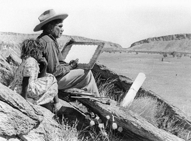Aboriginal artist, Albert Namatjira, photographed by Alan Lambert during his trip around Australia in...