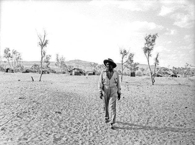 Aboriginal artist Albert Namatjira at the mission in Alice Springs in the Northern Territory on 24 September 1958.