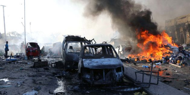 A general view shows the scene of an explosion in KM4 street in the Hodan district of Mogadishu, Somalia October 14, 2017.