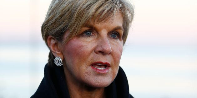Australian Foreign Minister Julie Bishop speaks to media following a dawn ceremony marking the 102nd anniversary of the World War One battle of Gallipoli, at Anzac Cove in the Gallipoli peninsula in Canakkale, Turkey, April 25, 2017. REUTERS/Osman Orsal
