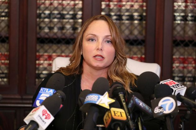 Louisette Geiss speaks at a news conference about Harvey Weinstein in Los Angeles, California, on October 10, 2017.