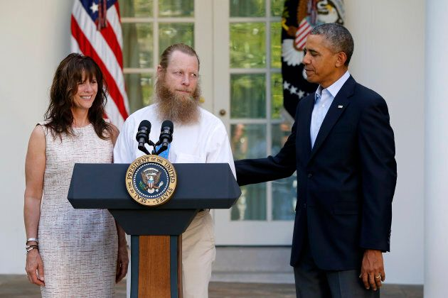Then U.S. President Barack Obama with Bergdahl's parents Jami and Bob, talking about the release of their