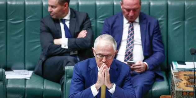 Energy Minister Josh Frydenberg, Prime Minister Malcolm Turnbull and Deputy Prime Minister Barnaby Joyce...