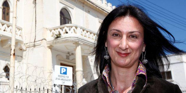 Maltese investigative journalist Daphne Caruana Galizia outside the Libyan Embassy in