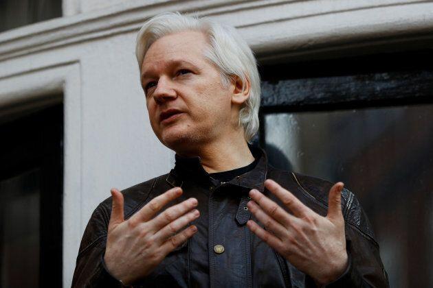 WikiLeaks founder Julian Assange is seen on the balcony of the Ecuadorian Embassy in London.