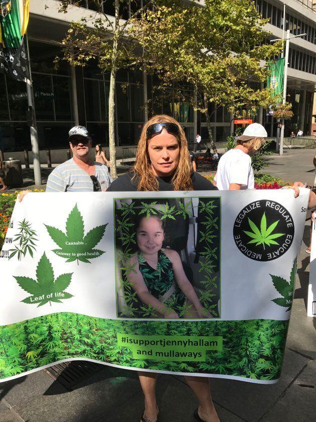 Katrina Spraggon at a medical cannabis rally in