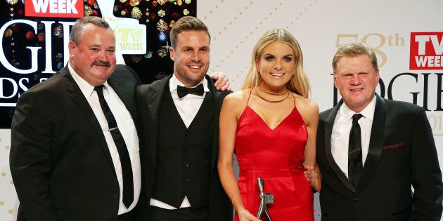Darryl Brohman, Beau Ryan, Erin Molan and Paul Vautin pose with yet another Logie Award -- this one for Best Sports Program in 2016.