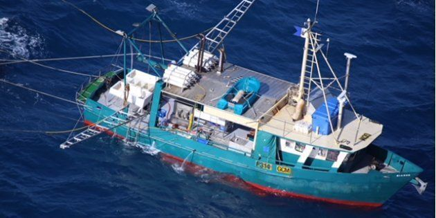 The commercial fishing boat was reported missing in waters near Middle Island off the coast of Queensland on Monday night. Only one of the seven men on board has been rescued.