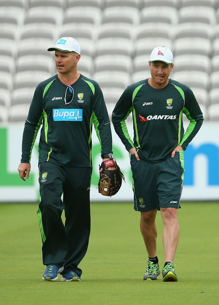 Michael Lloyd, left, with former Australian wicket keeper Brad Haddin, at Lord's in 2015.