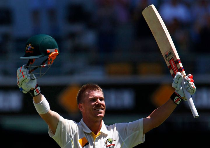 This one's for you, Michael Lloyd. Dave Warner celebrates a century against England in 2013.