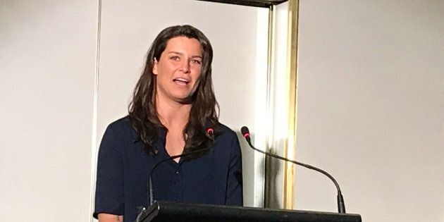 Boyle speaking at the Mind The Facts event in