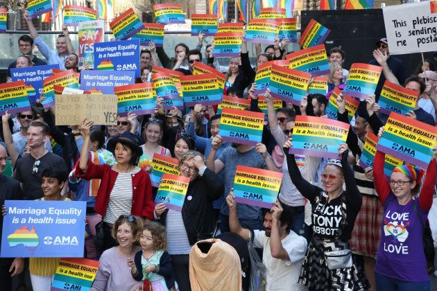 Hundreds of doctors and medical students rallied in Sydney to support marriage equality last month. The Australian Medical Association supports same-sex marriage, saying discrimination can have serious impacts on psychological and mental health.