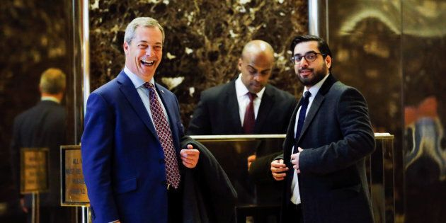 Nigel Farage arrives at Republican president-elect Donald Trump's Trump Tower in New York.