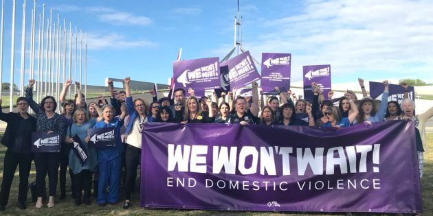 'We Won't Wait' campaigners outside parliament on
