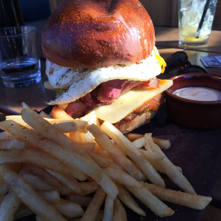 Egg and bacon roll with fries? Yes, please.