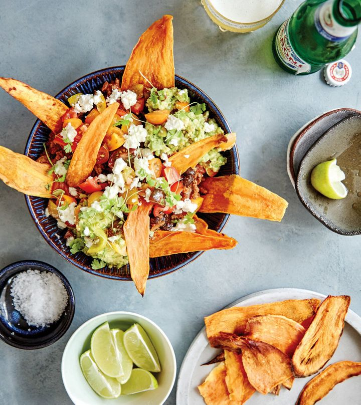 Subbing sweet potato for corn chips gives this nacho dish a nutritious boost.