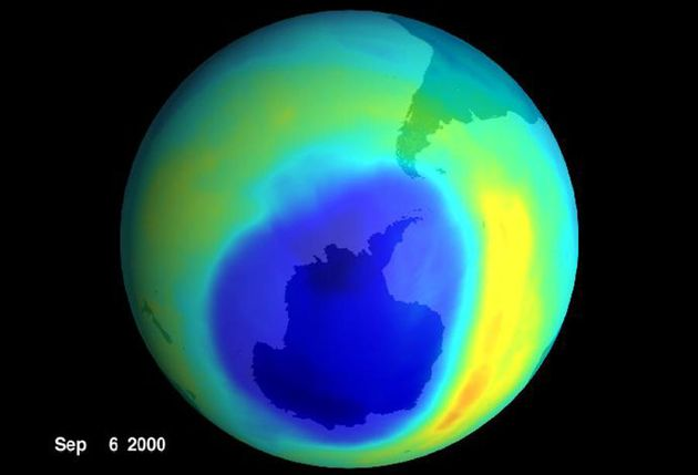 A NASA visualisation of the hole in the ozone layer in 2000. Note the absence of Australia, like, anywhere