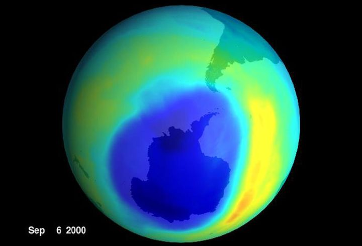 A NASA visualisation of the hole in the ozone layer in 2000. Note the absence of Australia, like, anywhere nearby.