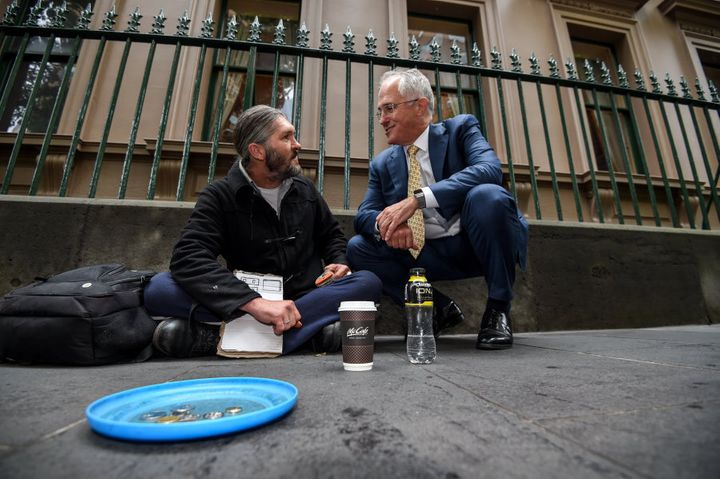 Prime Minister Malcolm Turnbull with homeless man Kent Kerswell at the January launch of an app for homeless people called Ask Izzy, arranged by the Salvation Army.