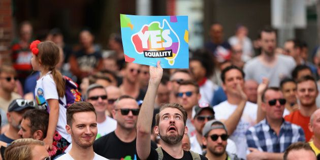 People display their support at a Marriage Equality rally in Sydney's Taylor