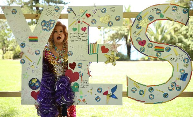 Drag Queen Glenda Jackson attends Yes Fest supporting marriage equality at King Edward Park in Newcastle.