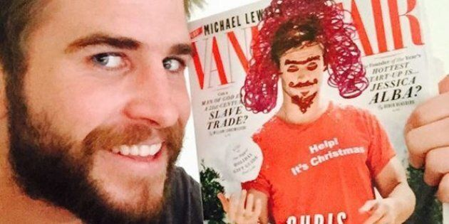 Liam and the 'improved' Vanity Fair cover featuring his brother