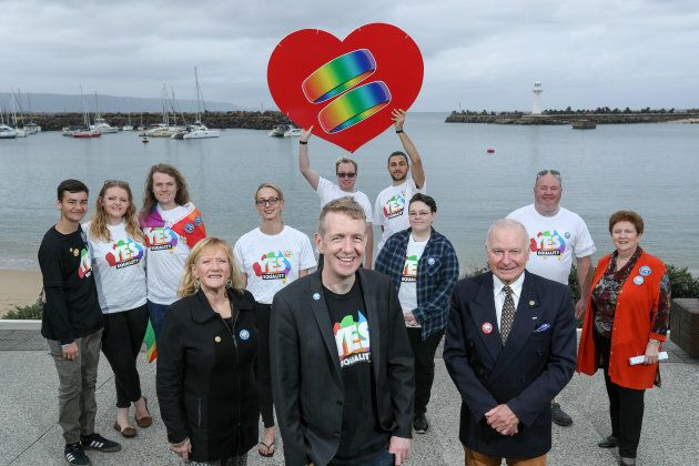 Executive Director of the Equality Campaign, Tiernan Brady, with Wollongong Lord Mayor Gordon Bradbery and Shellharbour mayor Marianne Saliba at Belmore Basin in early October, 2017.