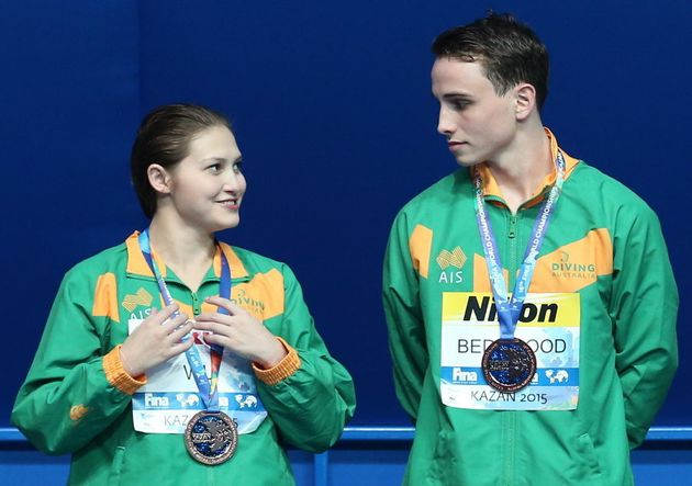 Even their expressions were in unison after Melissa Wu and Domonic won bronze in the 10m platform mixed...