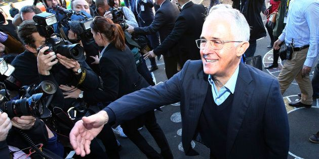 Turnbull cast his vote at Double Bay Primary School but stayed clear of a democracy