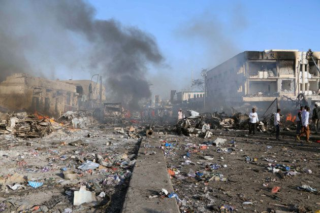 A general view shows the scene of an explosion in the Hodan district of Mogadishu, Somalia October 14,...