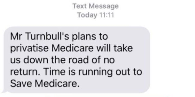 The text some Australians received on election