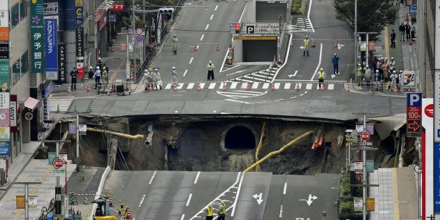 A huge sinkhole in Japan has been plugged in less than a