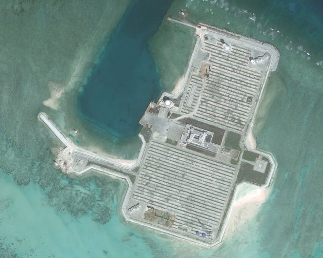 Closeup imagery of one of the Cuarteron Reef, located at the east end of the London Reefs in the Spratly...