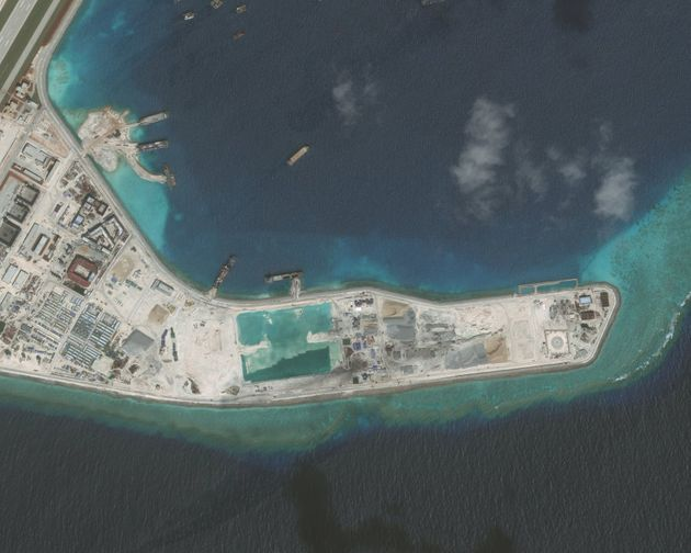 A closeup of the Subi Reef in the South China Sea, a part of the Spratly Islands