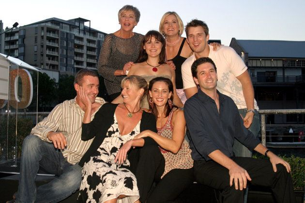 Judith McGrath, top left, with the cast of 'All Saints' in