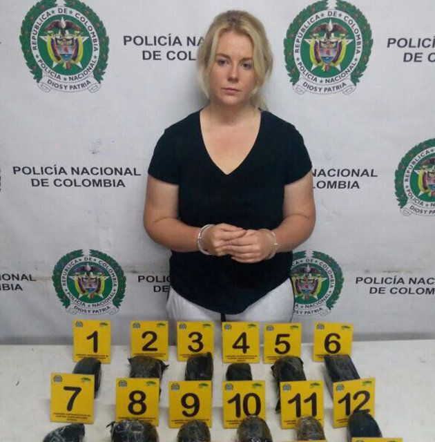 Cassie Sainsbury was arrested at Bogota International Airport with 5.8kg of cocaine concealed in her