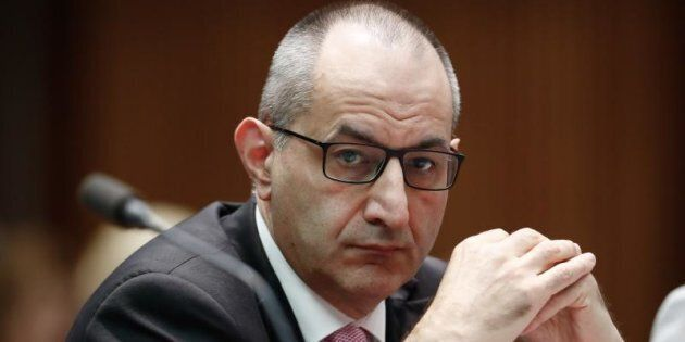 Michael Pezzullo, Secretary of the Department of Immigration and Border Protection, during a Senate estimates hearing at Parliament House.