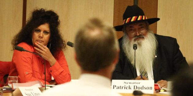 Senators Malarndirri McCarthy (left) and Pat Dodson (right) with Indigenous Affairs Minister Nigel Scullion