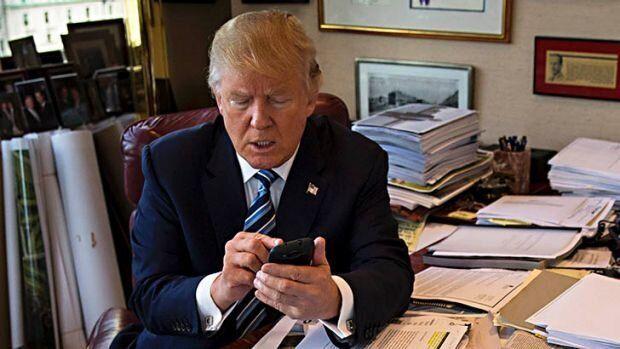 Donald Trump taking and making calls