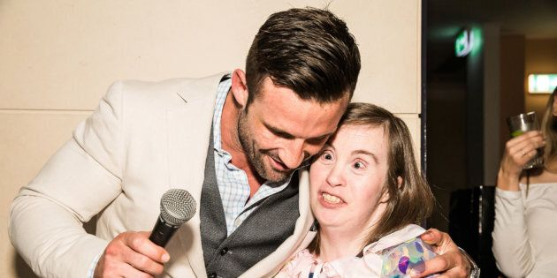 Dance For Abilities founder Jonathon Hopkirk with a guest from the latest dance