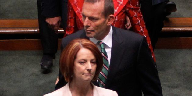 Prime Minister Julia Gillard and Opposition Leader Tony Abbott at the opening of the 43rd
