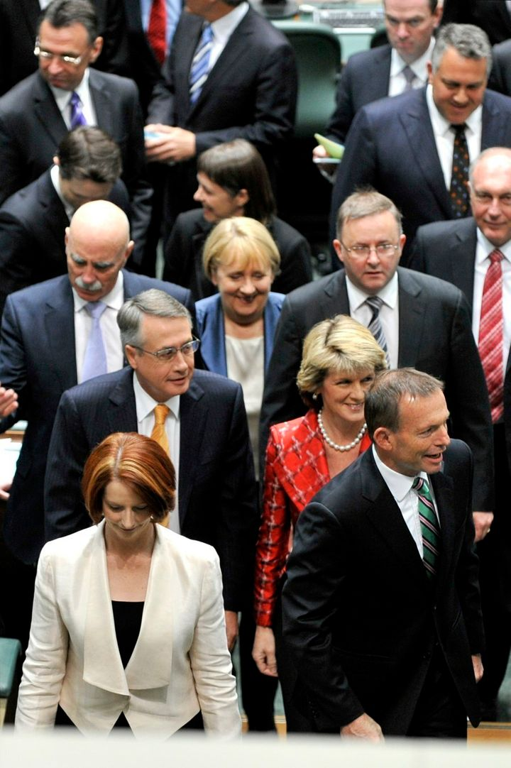 The opening of the 43rd parliament, in September 2010. In the foreground are then-Prime Minister Gillard and opposition leader Tony Abbott. The next three years would be among the most dramatic in Australia's political history.