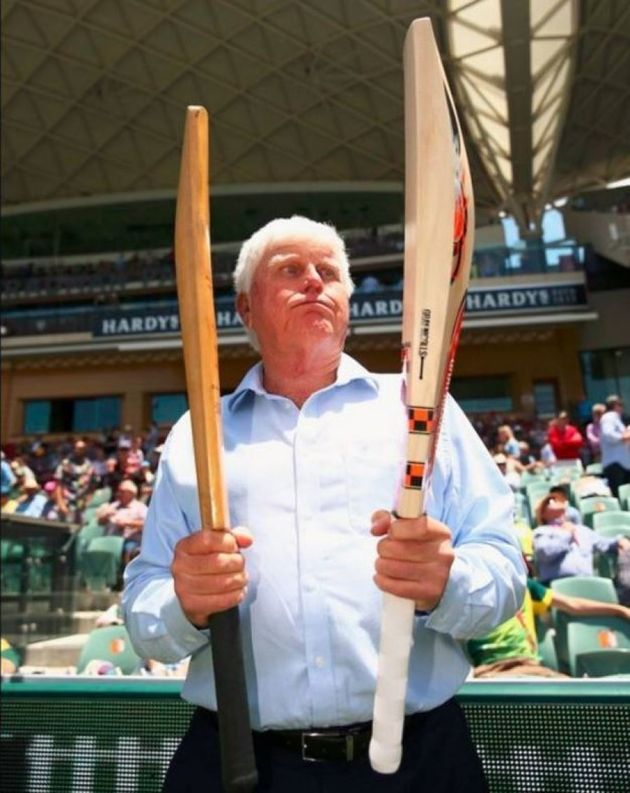 South African batting great Barry Richards comparing his old bat to the one used today by David
