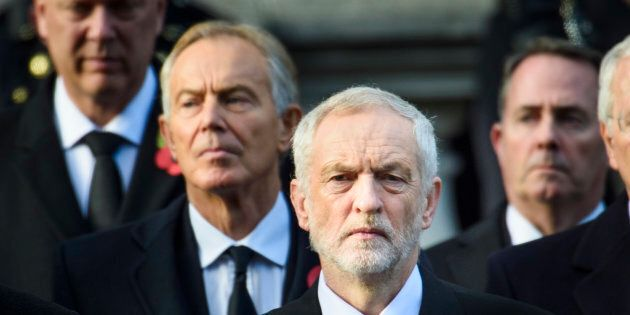 Labour leader Jeremy Corbyn and former Prime Minister Tony Blair during the annual Remembrance Sunday...