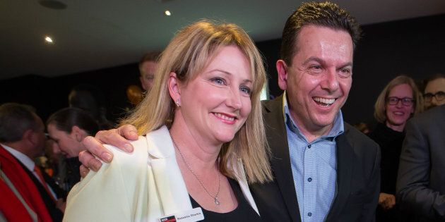Nick Xenophon congratulates Rebekha Sharkie on her win in